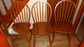 3 Solid Pine Chairs