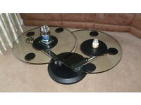 Round Glass Top Coffee Table, with swivel action top.