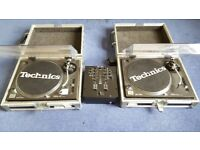 Technics 1210s Mk2 Pair with Numark M2 Mixer + Concorde Needles and Flight Cases - Great Condition