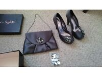 Phase Eight - Ava Platform shoes in charcoal - size 6 + matching clutch bag