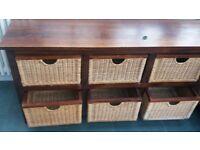 dark wood and rattan 6 box drawer chest - very versatile