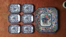 Japanese Hirano China sushi dish set - 1 large serving plate and 6 x sushi plates
