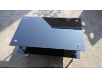 Coffee Table or TV Stand in Black Glass & Chrome