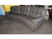 ScS Axis 4 Seater Curved Elec Recliner Grey Leather Sofa USB FREE DELIVERY DERBY NOTTM View Welcome