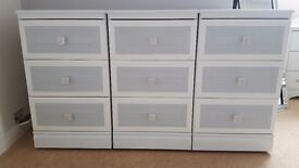 Beautiful Grey And White Drawers 3 Sets