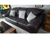 BROWN LEATHER SUITE (3 SEATER SOFA & 2 CHAIRS) STRUCTURALLY SOUND, AGE WORN, FROM NO SMOKING HSE
