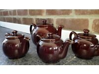 4 Tea Pots. Glazed Brown.