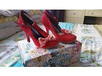 Irregular choice ladies red mary jane style heels size 40 uk 6.5