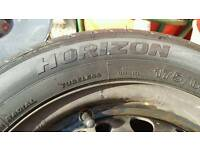 Horizon tyre 175 65 14 used but like new With vauxhall corsa steel wheel.