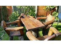 Unique Hand Crafted Tree Garden Table & 4 armchairs