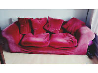 FREE Habitat Red Velvet 3 Seater Sofa - collection only