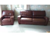 Brown leather 3 piece suite.