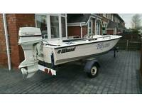 American dory ski boat with 70hp Johnson outboard power tilt and trim , trailer and extras