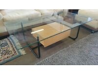 Modern Clear Glass Top Coffee Table with Oak Single Drawer