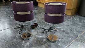 Pair of Purple and chrome table lamps
