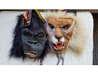 Gorilla and lion masks full face. £5 for both