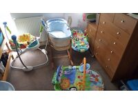 Fisher price toys and moses basket