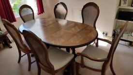 Wooden Extending (6-8 person) Oval Dining Table For Sale