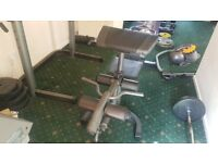 Weights bench and squat rack