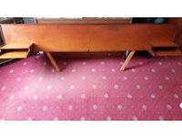 Myer teak retro vintage headboard with built in bedside shelves for double bed. G plan style.