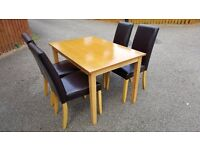 Solid Wood Dining Table 120cm & 4 Dark Brown Leather Chairs FREE DELIVERY (02547)