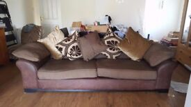 Excellent condition 4 seater leather cushion back sofa with matching chair