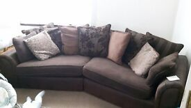 4 seater sofa and chair with scatter cushions.