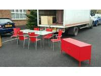 Frosted glass top table + 6 red gloss chairs