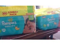 Size 3 100 x pampers nappies X 2
