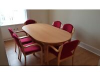 Office meeting table and 6 chairs