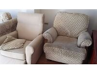 Sofa, armchairs & foot stool