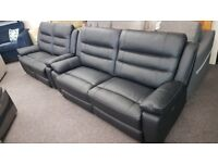 ScS Neso Black Leather 3 Seater Electric Recliner & 2 Seater Manual Recliner Sofas