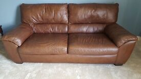 Quality natuzzi dark brown leather 3 seater sofa, well looked after