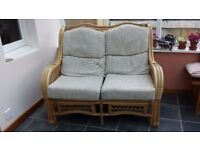 Wicker conservatory sofa & chairs in excellent condition with washable seat covers