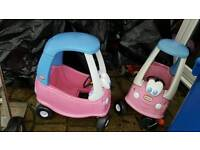 2 x little tikes cosy coupe cars