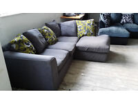 GRADED Grey Fabric Right Hand Corner Sofa Suite Lime Free Local Delivery