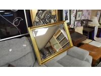 Large Gilt Framed Mirror With Beveled Glass