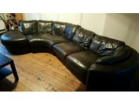 BROWN LEATHER LARGE CORNER SOFA FOR SALE - FREE DELIVERY SOME AREAS - MUST GO ASAP - £175