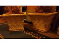 Large Garden Pots - Pair, heavy concrete decorative design