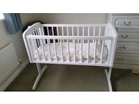 White wooden baby crib in very good condition