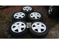 "Set of 5 x 15"" Genuine Renault Alloy wheels & Excellent Tyres + Locking Bolts - Clio, Kangoo etc"