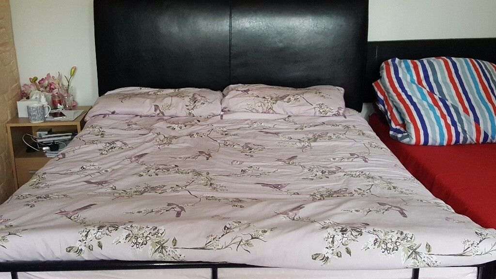 Double bed metal frame good quality with leather headboard
