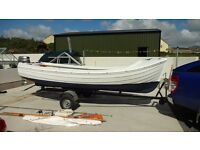 16ft Orkney Longliner, 8 hp 4 stroke Honda outboard and road trailer in Annalong, Co.Down