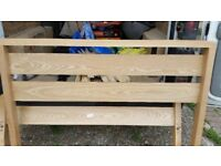 benson 4ft 6ins oak bed frame and matress near new.Solid oak frame in good condition.