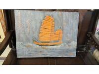 Chinese Junk Boat Abstract By Local Artist Maya