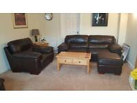 Brown Leather Sofa, Chairs & Pouffes