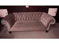 Chesterfield Sofa (Greenish Grey) Velvet ish Material (QUICK SALE REQUIRED)