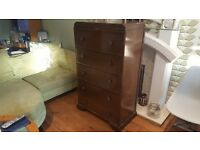 Vintage Retro Chest of Drawers 5 Drawers Vanity Mirror Makeup Dresser Chancellor Maker SideBoard