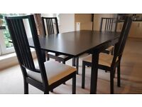Extending Dining Table and Chairs - Great Condition - Barely Used - Dark Brown - Cream Seats