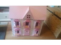 Elc rosebuds cottage wooden dolls house with lots furniture people